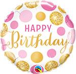 """BIRTHDAY PINK & GOLD DOTS (18"""") QTY 5"""