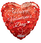 HAPPY VALENTINE'S DAY HEARTS 18 INCH QTY 5