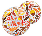 SINGLE BUBBLE GIVE THANKS ACORNS AMD LEAVES  (22IN) QTY 5