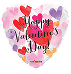 HAPPY VALENTINES DAY WATERCOLOR HEART (18IN) QTY 10