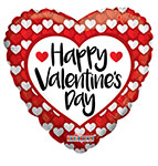 HAPPY VALENTINE'S DAY RED & WHITE HEARTS (36IN) QTY 5