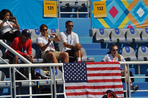 Staff from Team USA watch Rydberg take his first round match