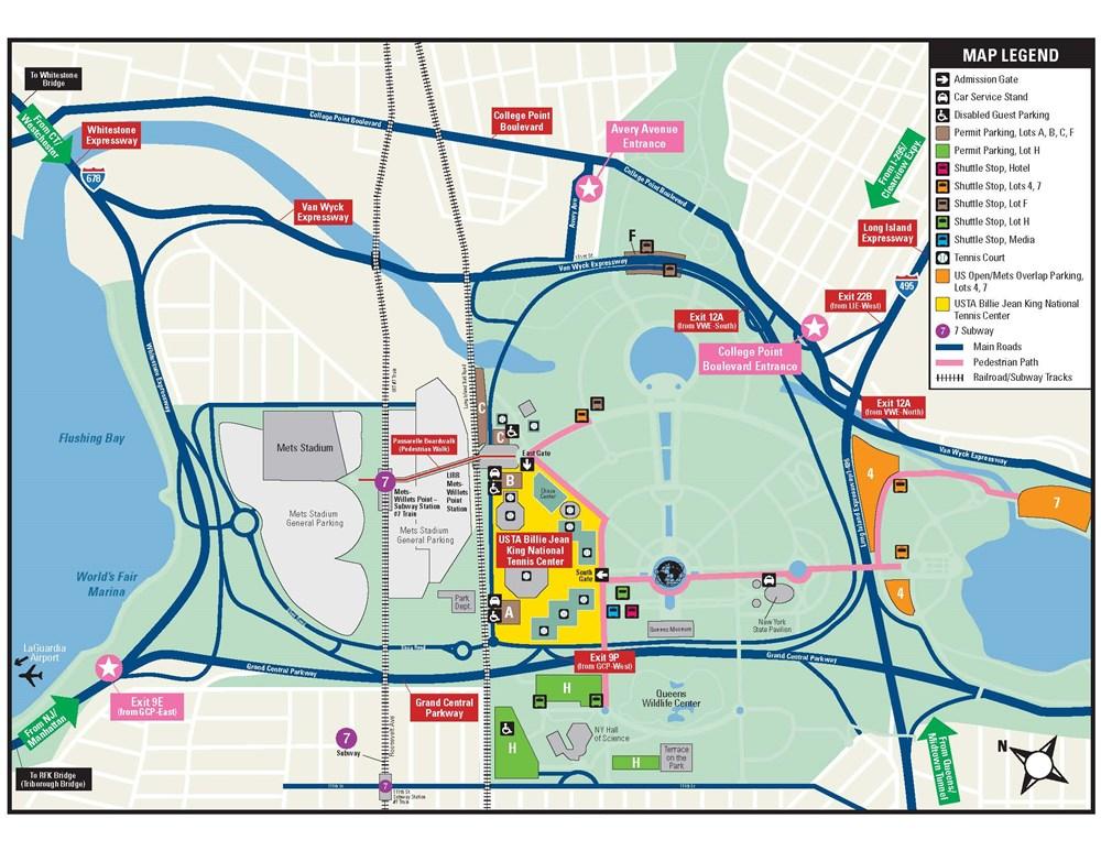 Us Open Tennis Center Map - Us open tennis parking map