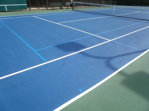 36' and 60' blended lines on a 78' tennis court using a light blue on dark blue color scheme. Note t