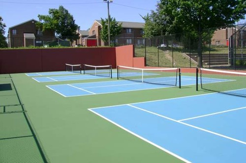 Four stand alone 36' tennis courts. These four courts were converted from one 78' tennis court. Stan