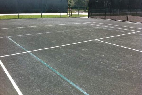 60' Blended Tennis Lines On 78' Clay Tennis Court