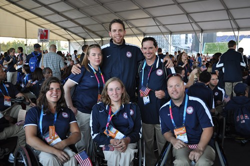 US Wheelchair Tennis Team Prepare to March at Opening Ceremonies (seated Soldan, Kaiser, and Welch Standing, Jenna Street, Yolkut, Harnett)