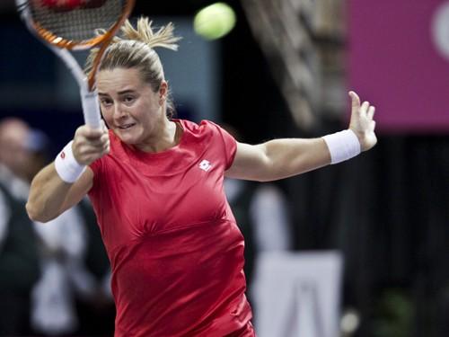 2012 Fed Cup USA vs. BelarusDarya Kustova in action during the 2012 Fed Cup tie break between the U