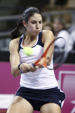 2012 Fed Cup USA vs. BelarusChristina McHale in action during the fourth match of the tie break between the USA and Belarus.
