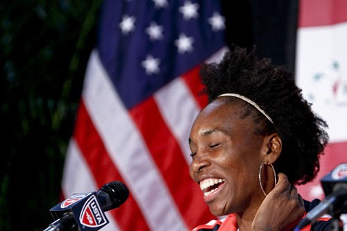 2012 Fed Cup USA vs. BelarusVenus Williams and USA Team Captain Mary Joe Fernandez give a press conference before the tie break Fed Cup match against Belarus.