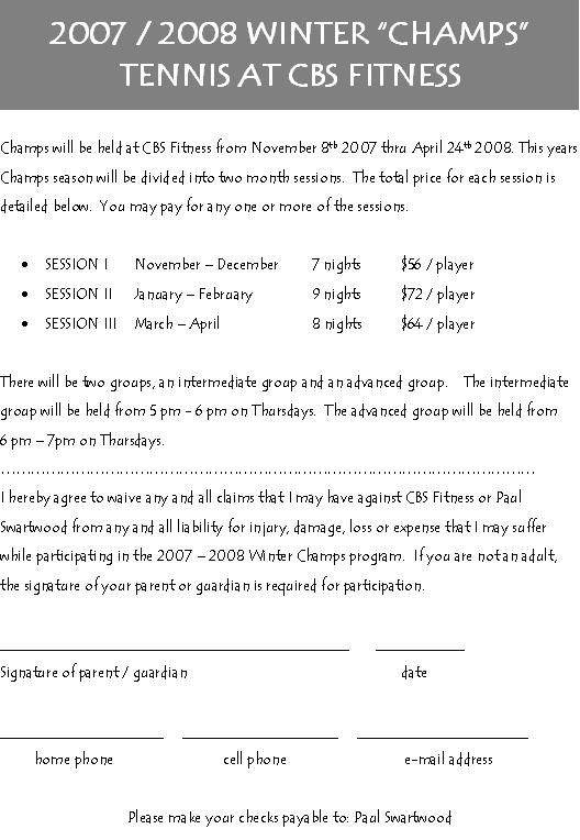CHAMPS REGISTRATION FORM