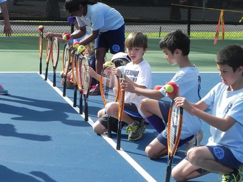 School kids testing their balance skills