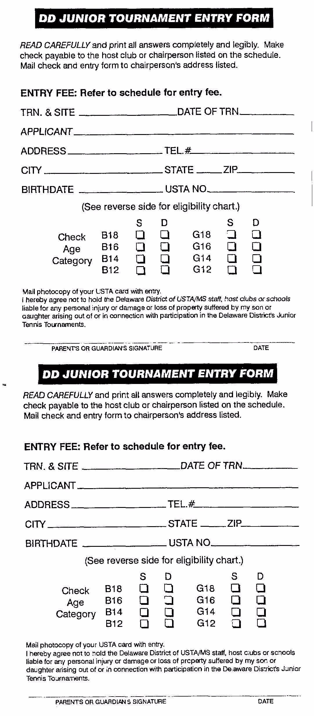 Junior tournament entry