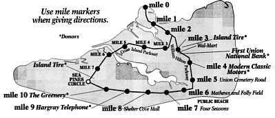 Hilton Head Island Mile Marker Map