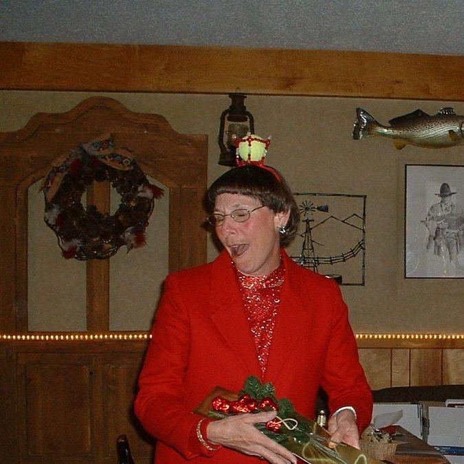 Carolyn Satterlee and her tennis ball tiara