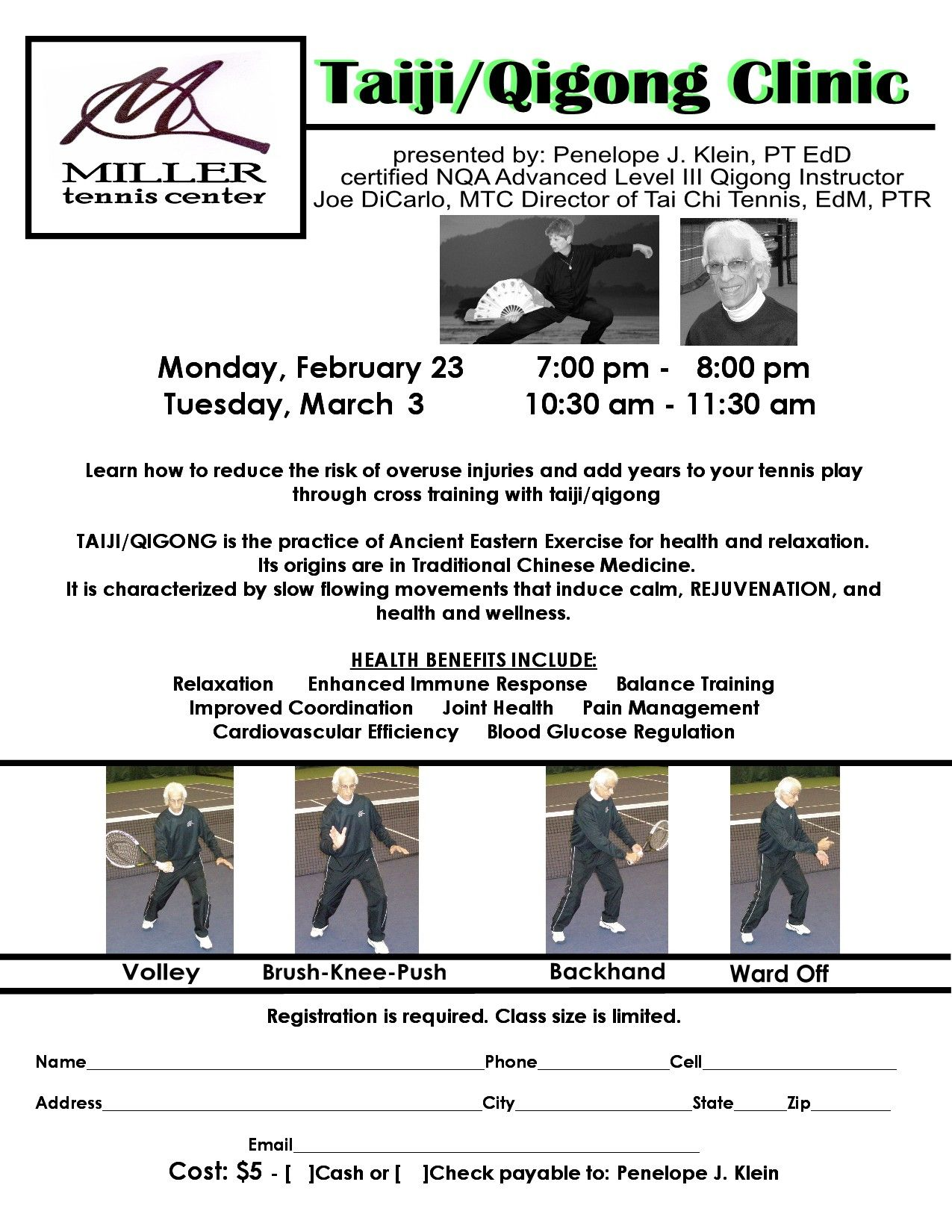 Taiji/Qigong Clinic presented at Miller Tennis Center