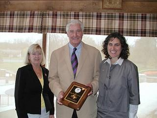 Judy Veloff, District League Coordinator, John Powless, recipient of the WTA Member Organization of the Year Award and Linda Freedman, WTA Awards Chairman