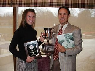 Tom Chorney, Director of Tennis, Cherokee Country Club presents Caroline Starck the Frank Parker Junior Award