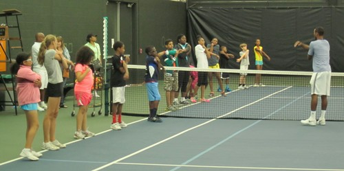 Brandon Smith TSR stretching with the kids