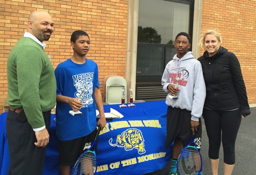 Principal Todd Whitaker with Boys Champions   Leah