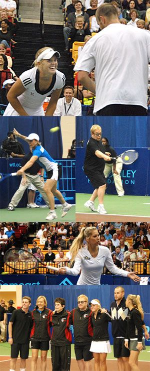 Top photo: Marietta, Ga.'s Melanie Oudin gets a kick out of a quip from Andy Roddick. Left: The backhand of Martina Navratilova. Right: The forehand of Sir Elton John. Middle: The volley of Anna Kournikova. Also pictured: Jesse Levine.