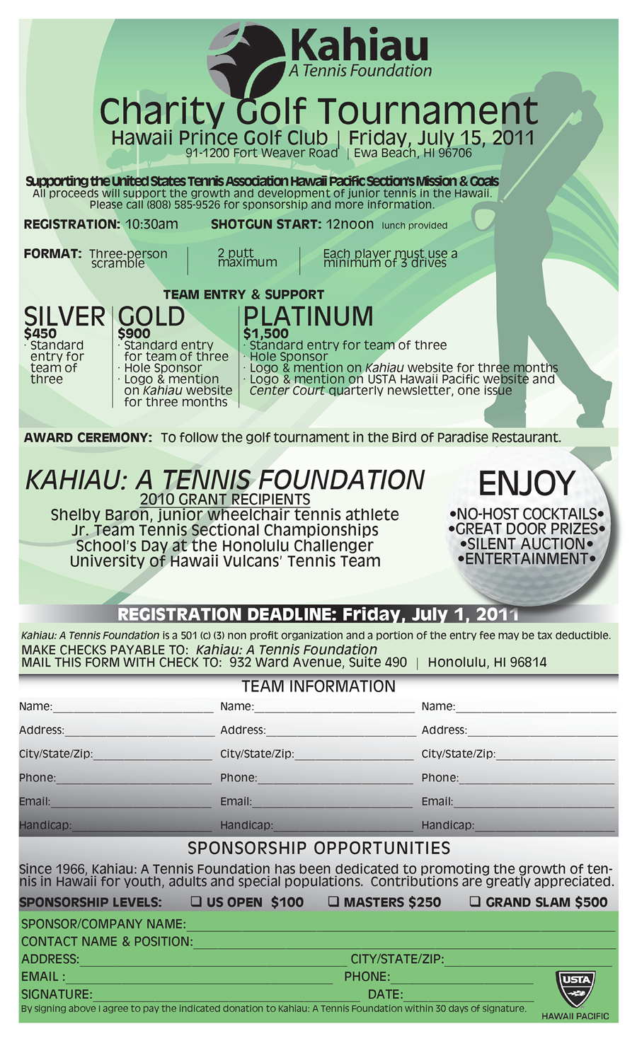 golf tournament registration form pdf