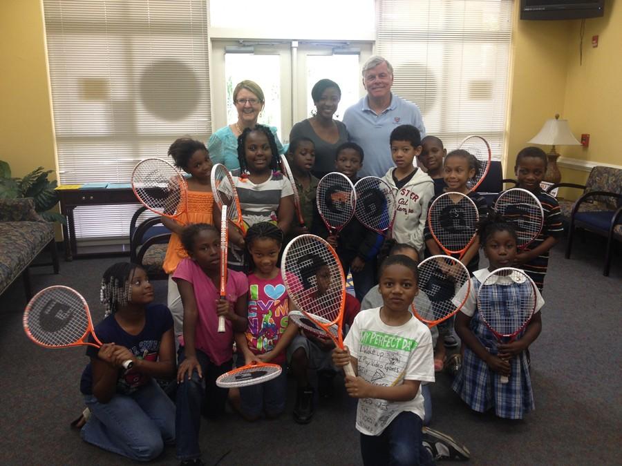 From back left: Tournament Director Karen Vogter, Bond Elementary School's  Ms. Lewis, and USTA Florida Tennis Program Coordinator George English with  Bond ...