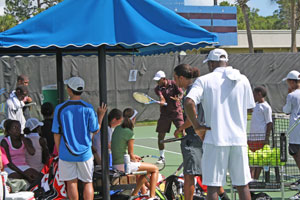 Campers receive instruction from coaches