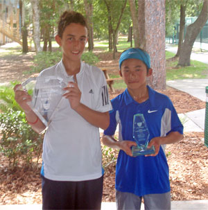 From left: Boys' 12 Singles winner Ariel Hollender of Aventura and runner-up Noah Makarome of Wesley Chapel