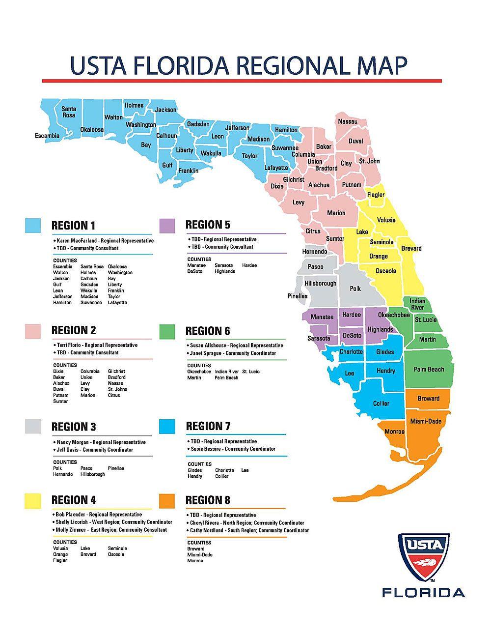 Florida Regions Map.Yearbook Usta Florida Yearbook Usta Florida