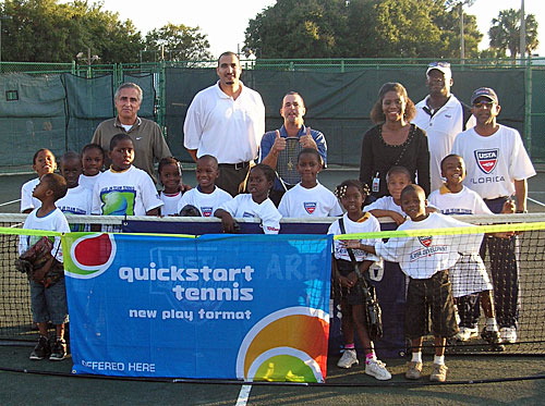 Kids from the QuickStart Tennis league in Orlando
