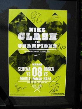 Nike Clash The Champions poster signed by Roger, Rafa, Serena, Maria.