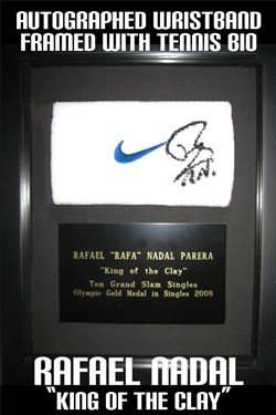 Rafael Nadal's wrist band signed & framed.