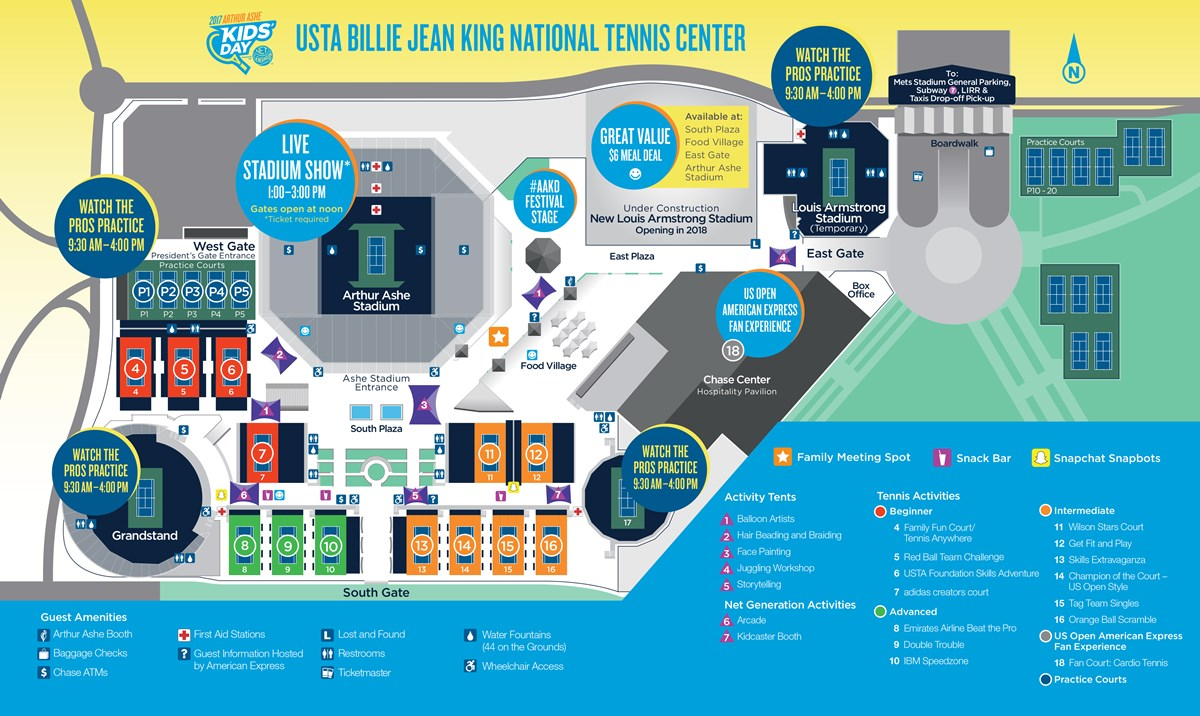 2017 Arthur Ashe Kids Day Grounds Map 20170823 Grounds Map Generic Aakd