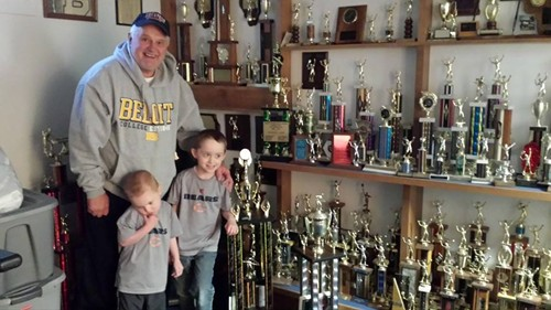 Larry Campton with trophies and grandsons May 2014