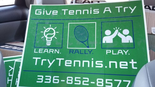 Try Tennis yard sign