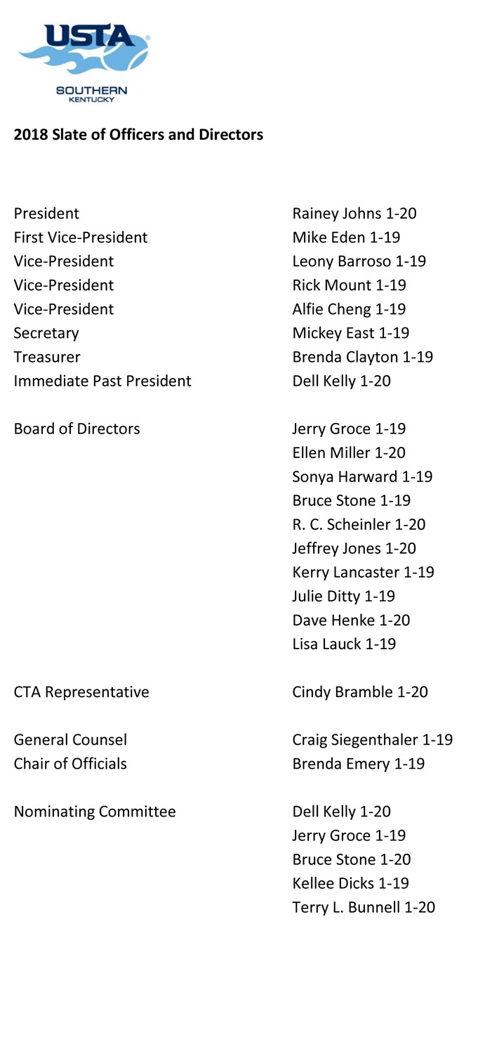 USTA_2018_SLATE_OF_OFFICERS_AND_DIRECTORS_12-17