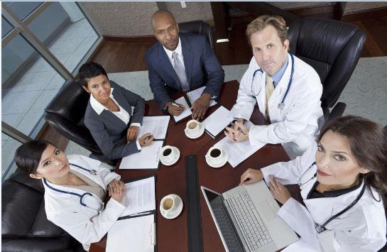 Health care executive in boardroom