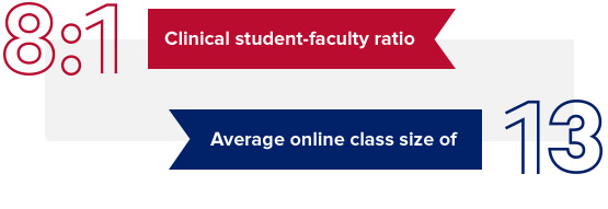 8:1 Clinical student-faculty ratio. Average online class size of 13.