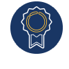 CSWE Icon: A blue circle with an award style ribbon inside.