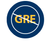 No GRE Icon: The letters GRE crossed out inside of blue circle representing the fact that we do not require a GRE for admission if you have at least 3 full years of professional experience in health care