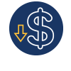 Savings Icons: A blue circle with a dollar sign and downward pointing arrow inside. This represents tha on average, students pay less in tuition at UNR than at comparative online MSW programs