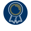 CSWE Icon: A blue circle with an award style gold ribbon inside.