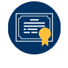 Certificate Icon: A blue circle containing an illustration of an education degree certificate because you can graduate in as few as 24 months.