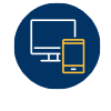Online icon: A blue circle containing an illustration of a desktop computer and tablet or smartphone. Our MPH is available 100% online with no residency requirement.