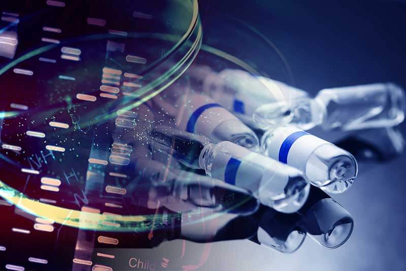 Picture of DNA analysis and vials of medicine