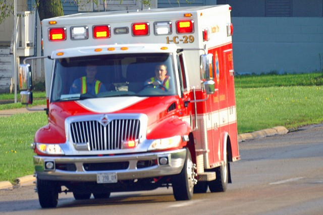 An ambulance on the way to a scene