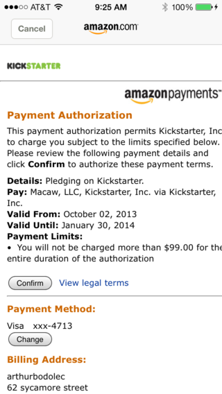 Amazon payment authorization