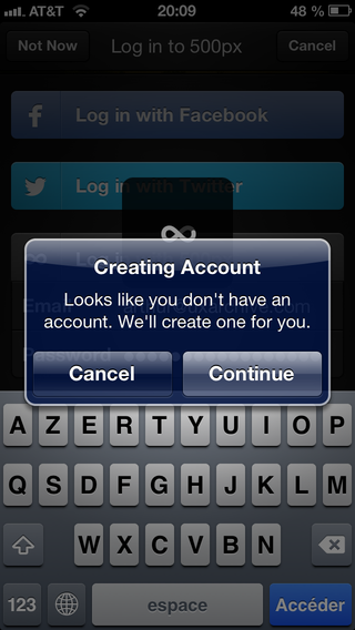 Creating account alert