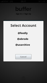 Twitter account selection